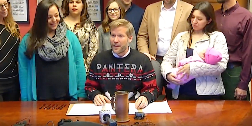 Mayor Tim Keller wearing Pantera Sweater