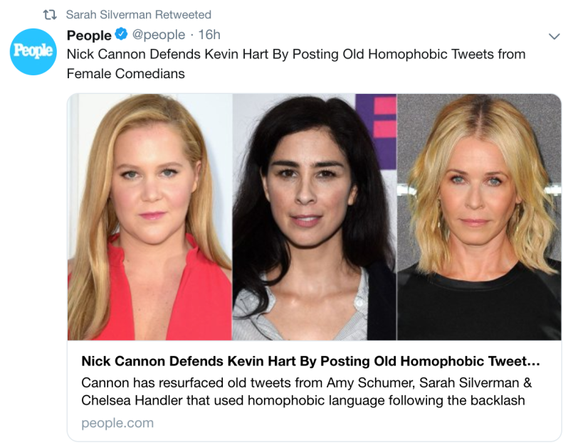 sarah silverman tweets Nick Cannon uncovers old homophobic tweets from Chelsea Handler, Sarah Silverman, and Amy Schumer