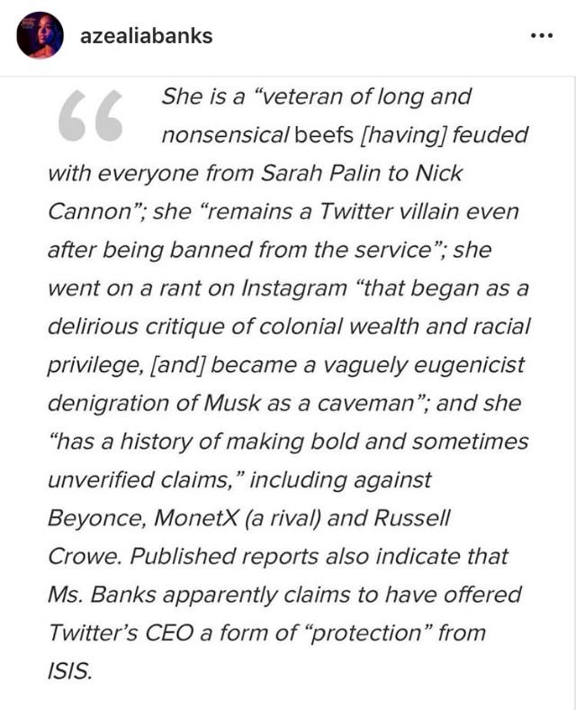 Azealia Banks' response to Elon Musk (1/4)