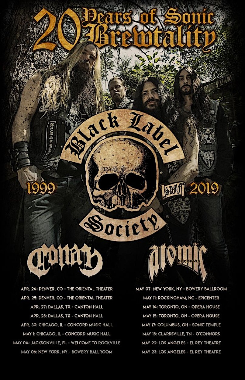 Black Label Society 2019 tour poster