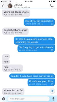Grimes and Azealia Banks text message correspondence (1/4), via Banks' Instagram