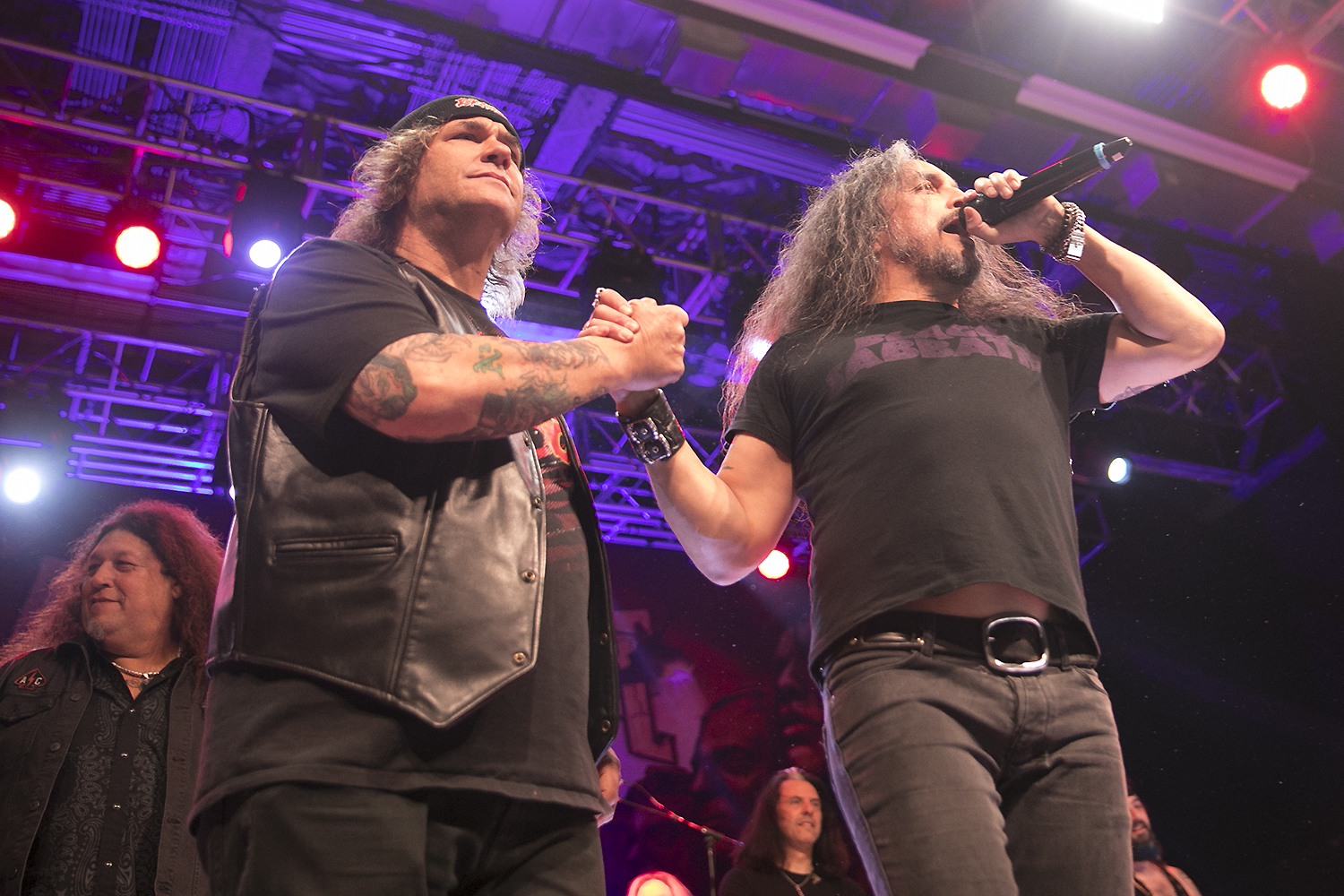 Steve Souza and Mark Osegueda perform with Metal Allegiance