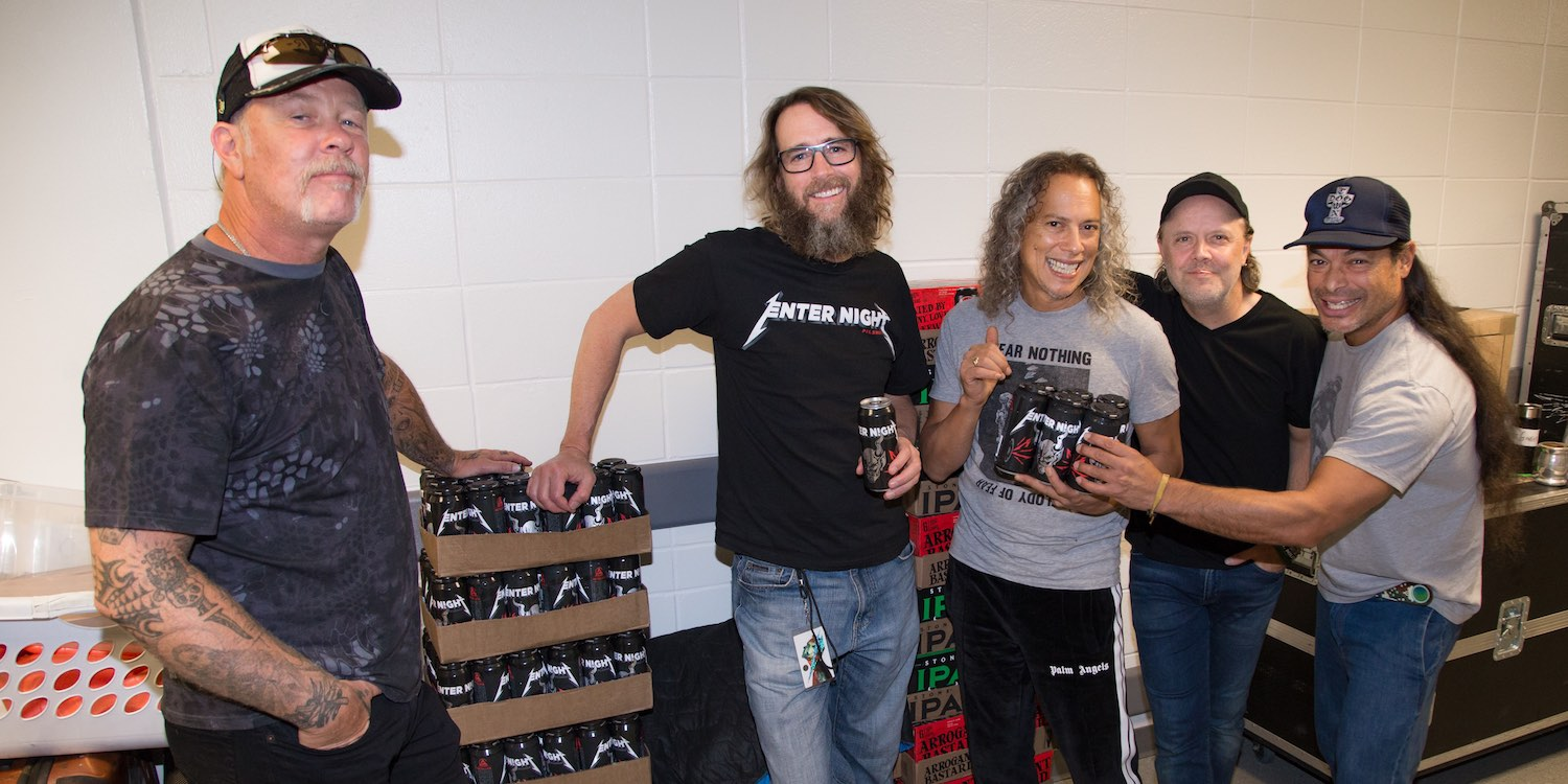 Metallica with Stone Brewery co-founder Greg Koch