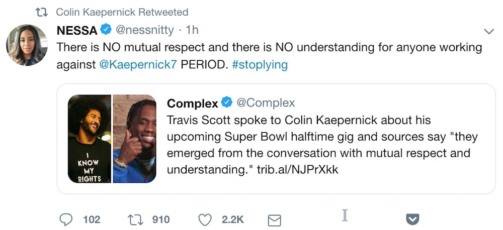 travis scott nessa kaepernick consult Colin Kaepernick did not sign off on Travis Scotts Super Bowl Halftime performance