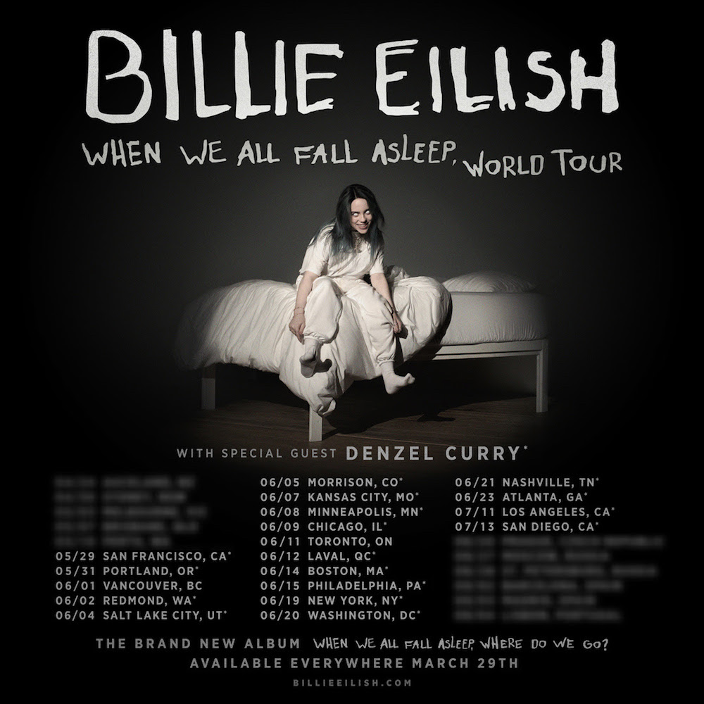 billie eilish when we all fall asleep tour dates 2019