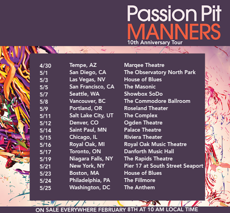 passion pit 10th anniversary manners tour