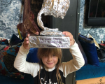 Pink daughter Willow Grammy tin foil homemade DIY