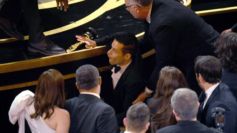 Rami Malek falls at Oscars