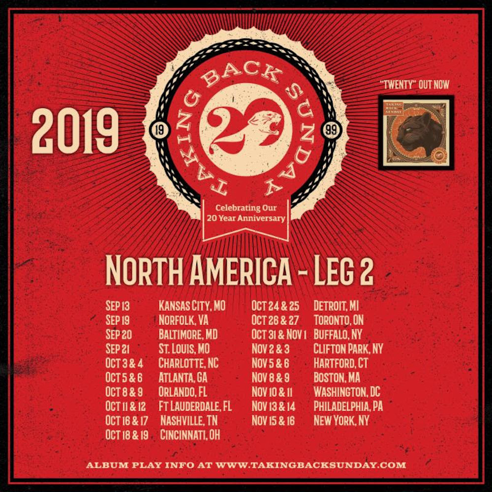 taking back sunday 20th anniversary tour dates north america