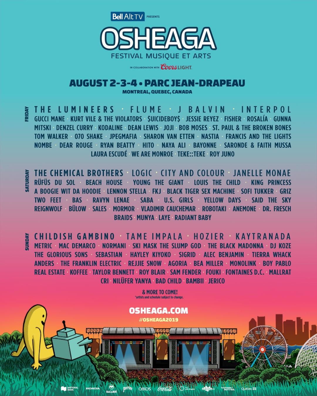 Osheaga 2019 lineup