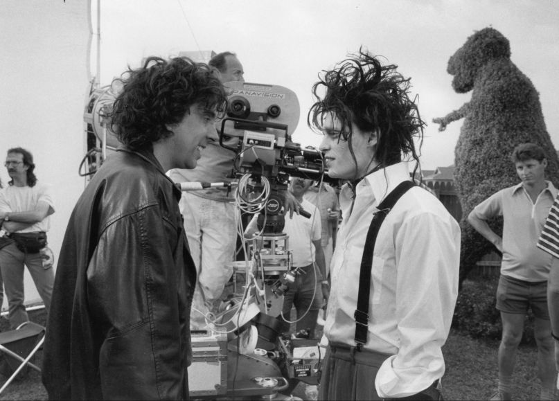 edward scissorhands johnny depp tim burton set photo