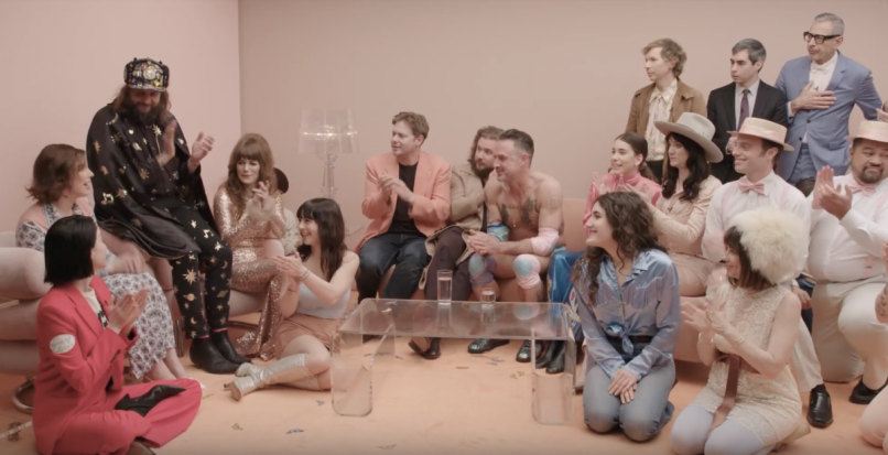 Jenny Lewis on the line listening party variety show Jeff Goldblum Beck Mac DeMarco Jason Schwartzman St. Vincent Nikki Lane Danielle Haim Jim James