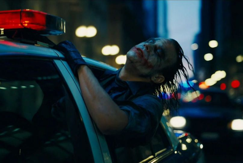 dark knight joker police car 2008 christopher nolan