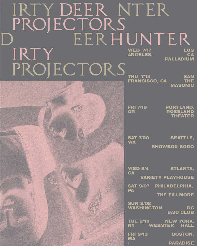Deerhunter Dirty Projectors Co-Headlining Tour 2019 Poster