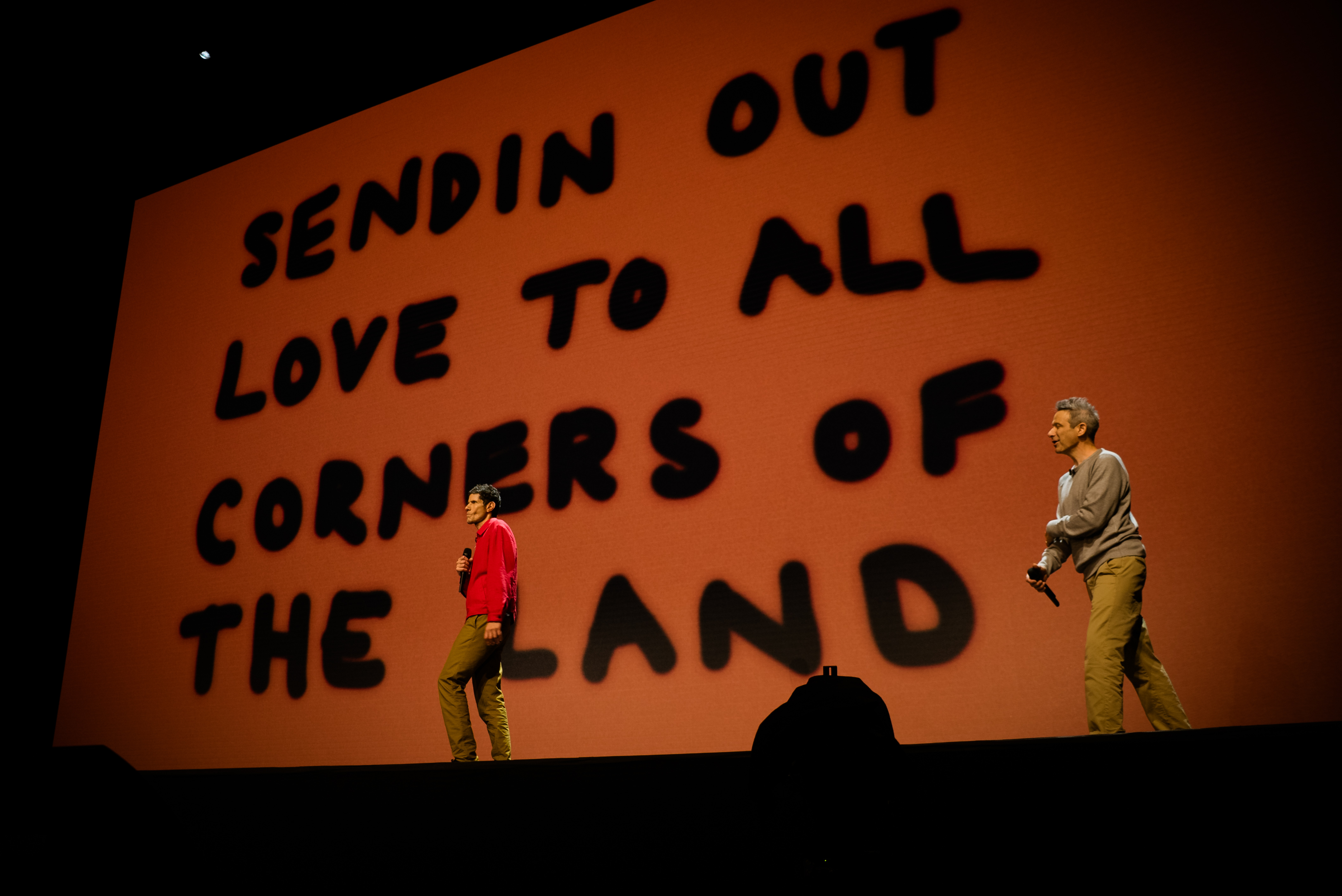 Mike D and Ad-Rock Performing Beastie Boys Story, photo by Lance Bangs brooklyn kings theatre review lyrics