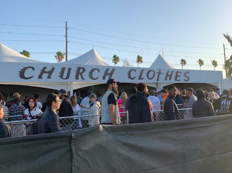 kanye church clothes coachella merchandise hoodie sunday service Kanye West sells Sunday Service church clothes at Coachella
