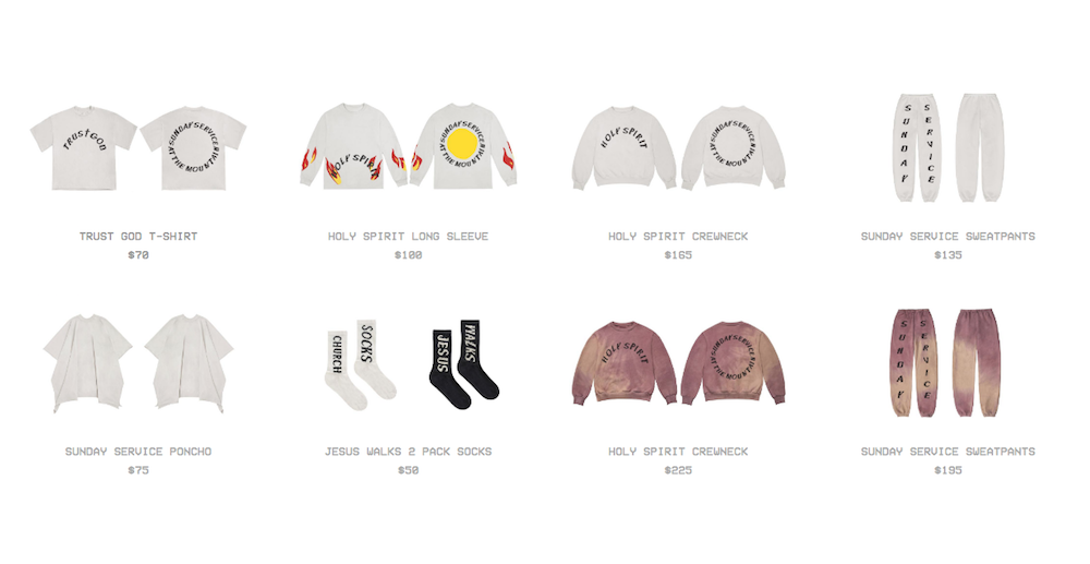 kanye west website online purchase church clothes sunday service Kanye West sells Sunday Service church clothes at Coachella