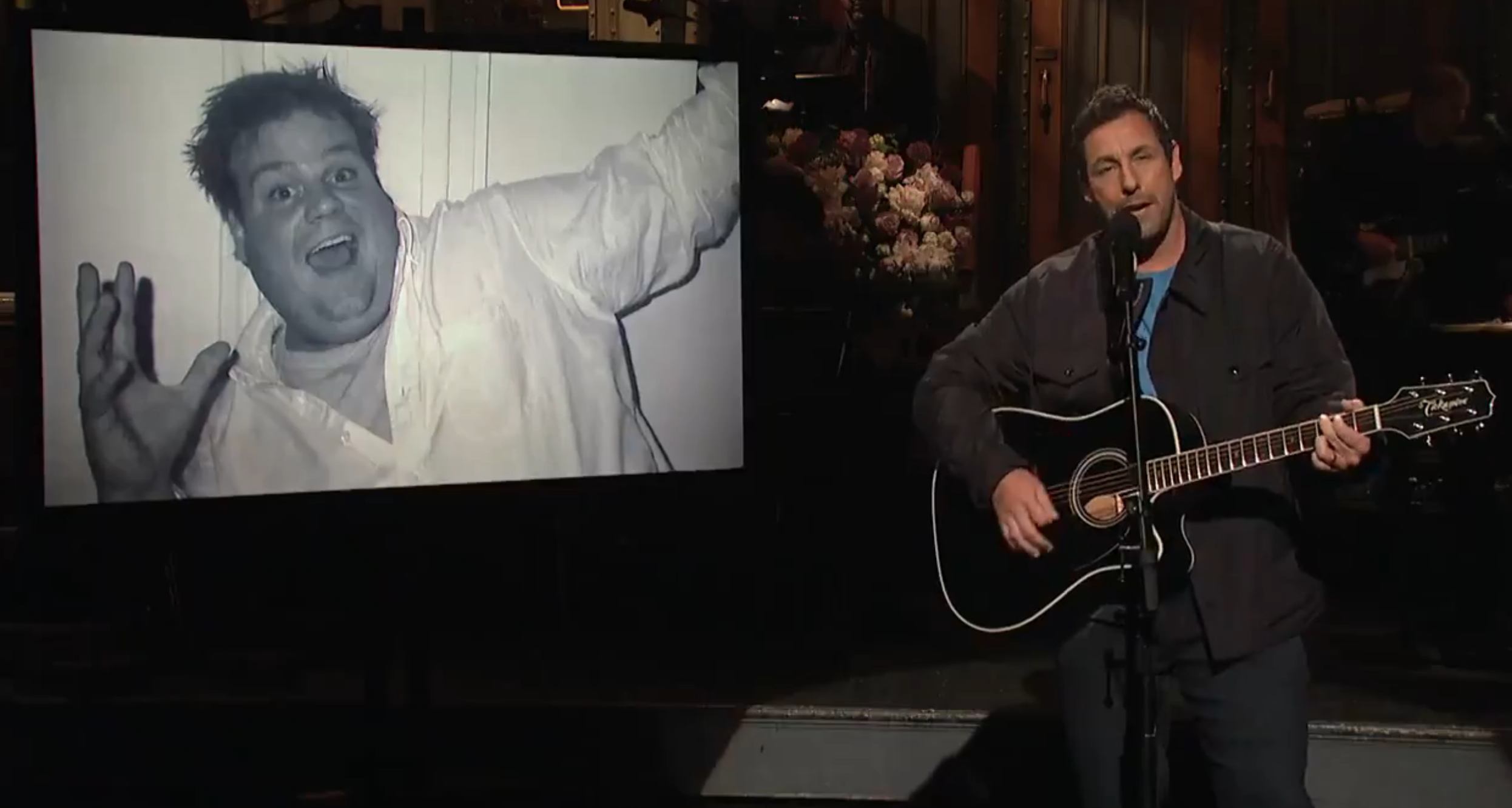 Adam Sandler pays tribute to Chris Farley on SNL: Watch