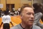 Arnold Schwarzenegger gets dropkicked