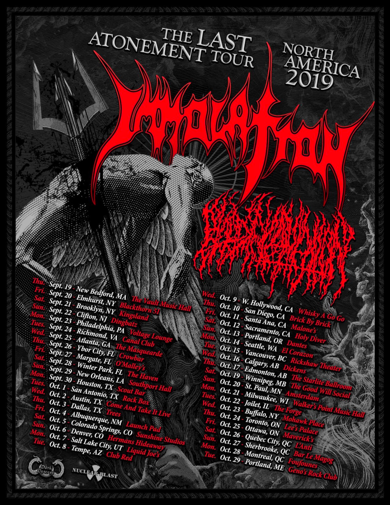 Immolation 2019 Tour Poster