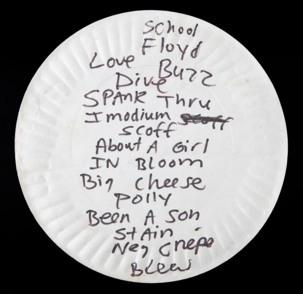 kurt cobain pizza plate setlist auction Used Kurt Cobain paper pizza plate sells for $23,000