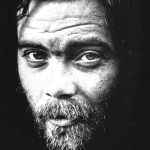 Roky Erickson, black and white portrait