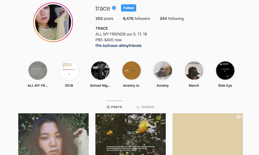 trace instagram premiere all my friends TRACE reveals Origins of new song All My Friends: Stream