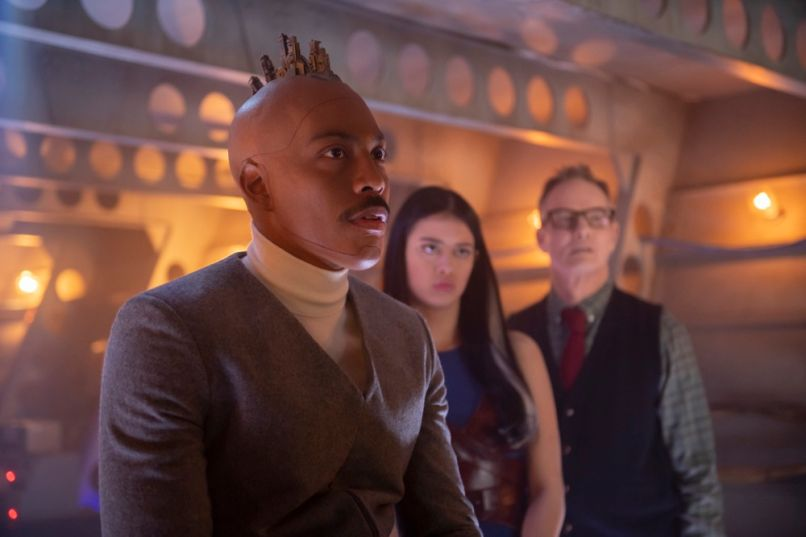 Jeremie Harris as Ptonomy Wallace, Amber Midthunder as Kerry Loudermilk, and Bill Irwin as Cary Loudermilk in FX's Legion