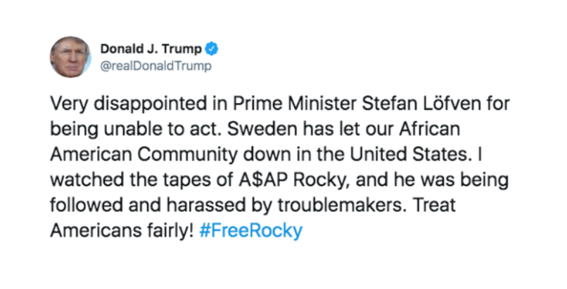 Donald Trump responds to ASAP Rocky news