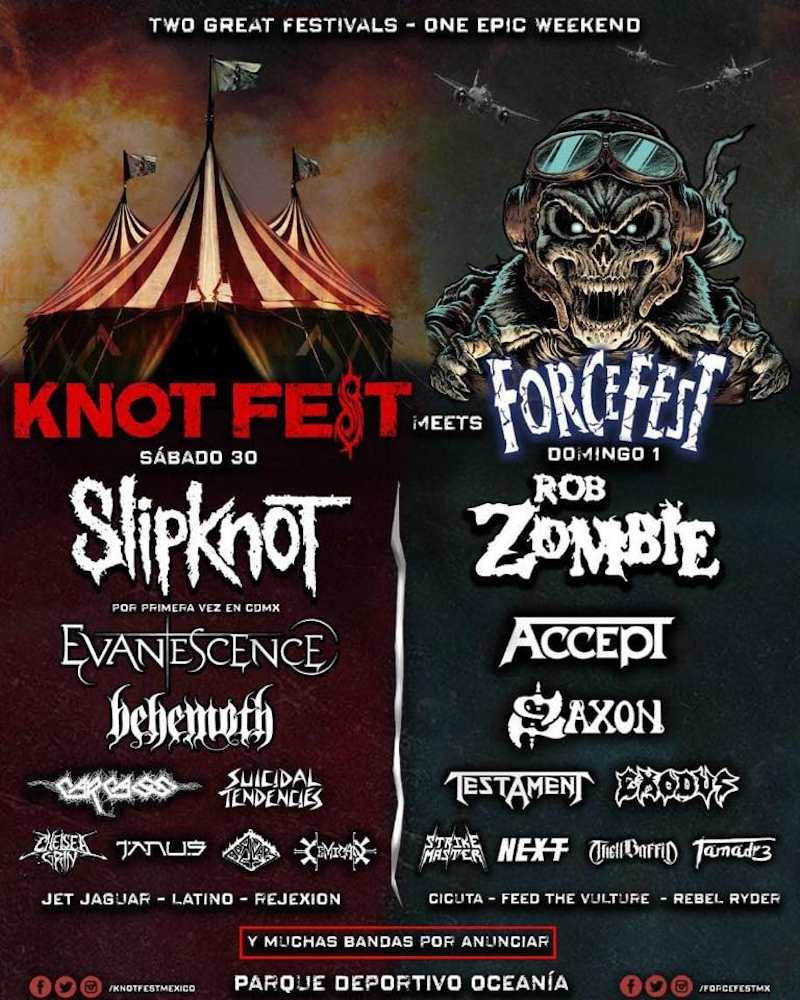 Knotfest Meets Forcefest 2019 lineup poster