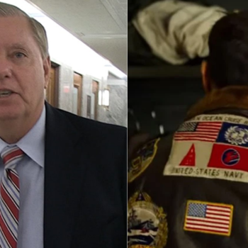 Lindsey Graham is not happy about the removal of Japanese and Taiwanese flags from Maverick's jacket