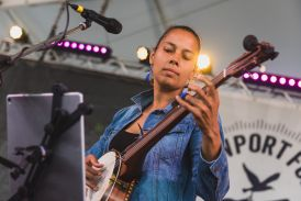 Rhiannon Giddens of Our Native Daughters at Newport Folk Festival 2019 Ben Kaye