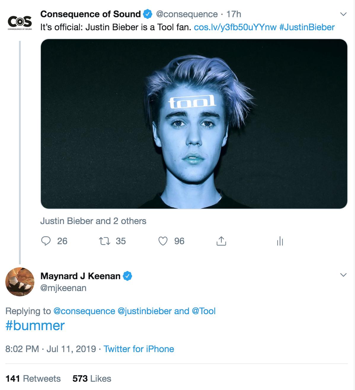 Maynard James Keenan Responds to Justin Bieber's Tool Fandom