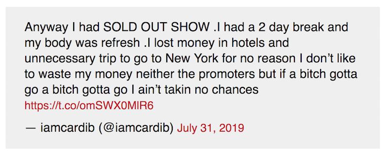 cardi tweet cancel tour indiana Cardi B cancels Indianapolis concert due to security threat