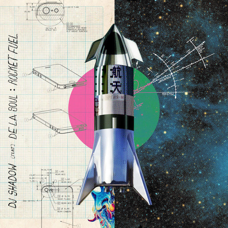 dj shadow rocket fuel de la soul artwork DJ Shadow recruits De La Soul for new collaborative song Rocket Fuel: Stream