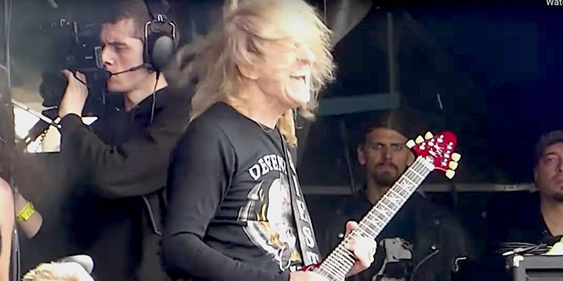 K.K. Downing performs at Bloodstock 2019 festival