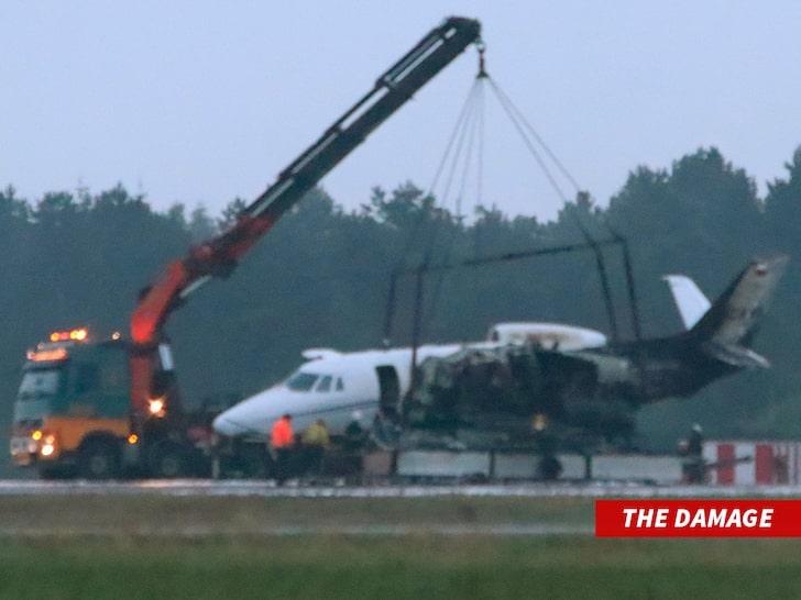 Pink plane crash management crew damage
