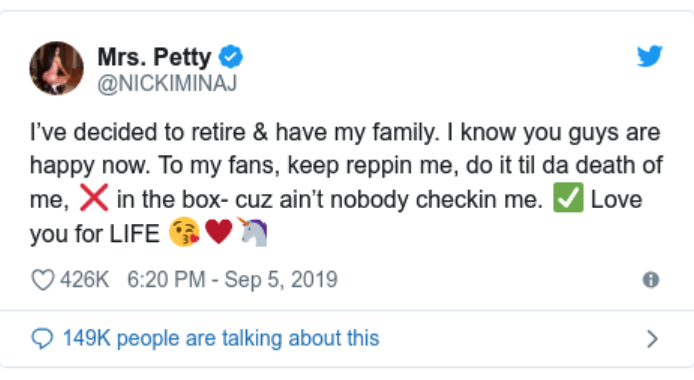 Minaj retirement tweet