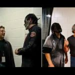 Jay Weinberg, Max Weinberg, and Jim Root re-create Slipknot photo