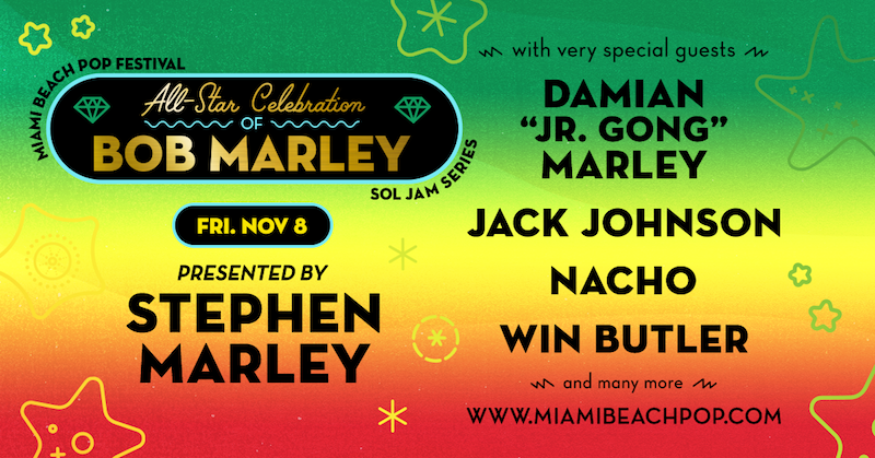 all star tribute bob marley miami beach festival Arcade Fires Win Butler, Jack Johnson to take part in Bob Marley tribute at Miami Beach Pop Festival