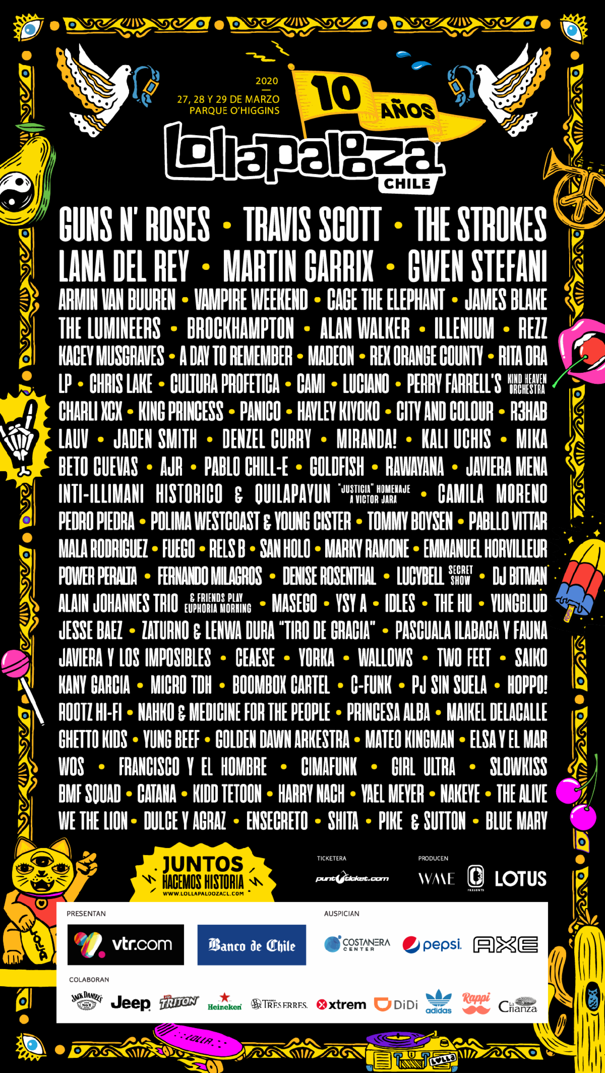 Lollapalooza Chile 2020 lineup Guns N Roses, The Strokes, Travis Scott to headline Lollapaloozas Latin American festivals