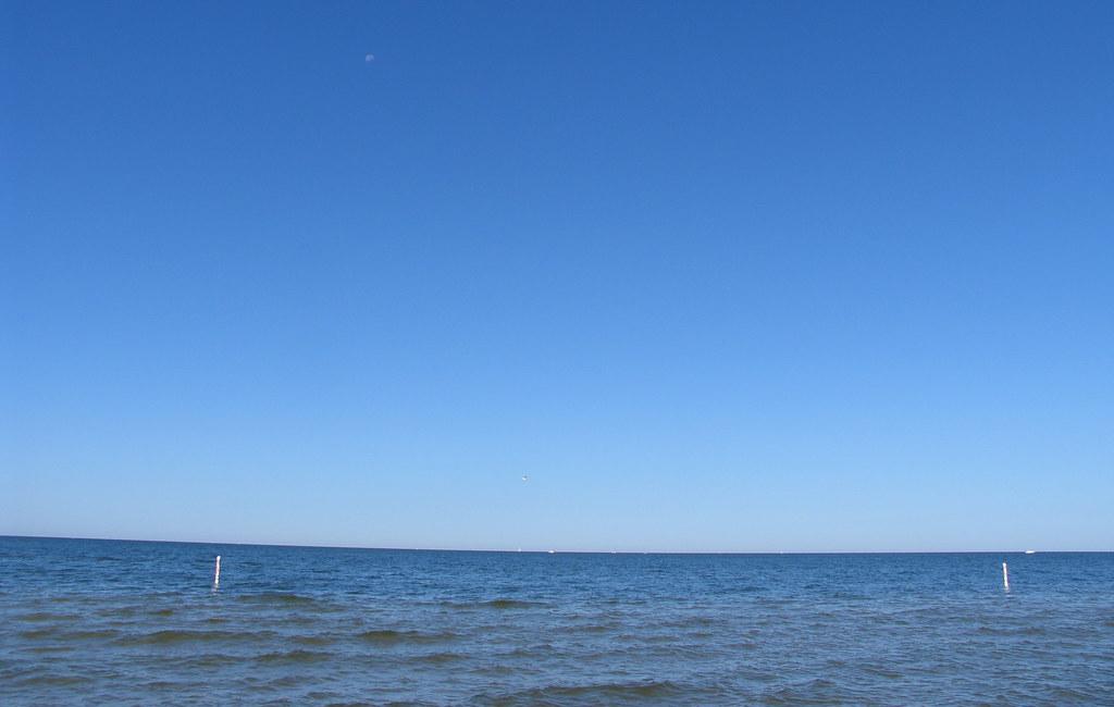 blue sky over lake michigan