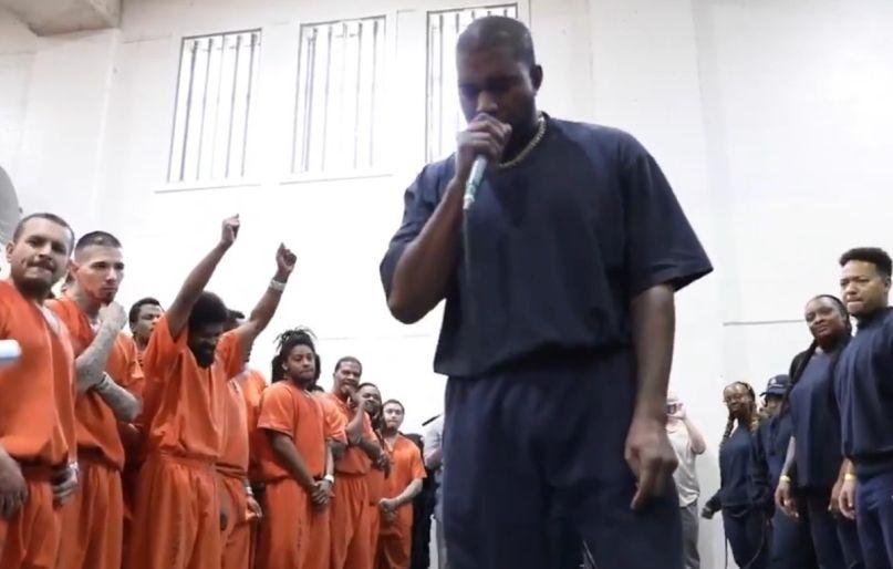 Kanye performing at Houston jail