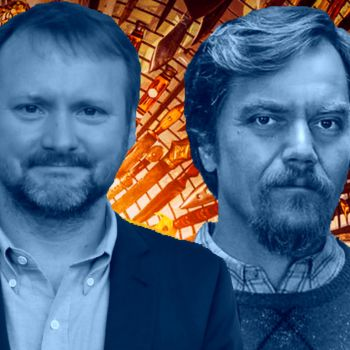 Rian Johnson and Michael Shannon in Knives Out (Lionsgate)