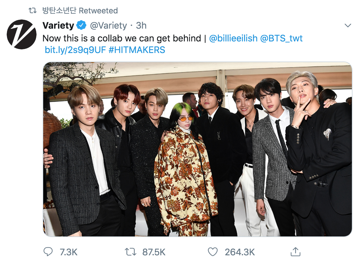 BTS and Billie Eilish collaboration tweet