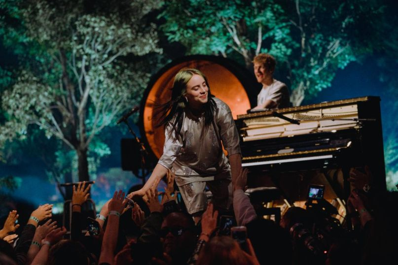 Billie Eilish performs at Steve Jobs Theater