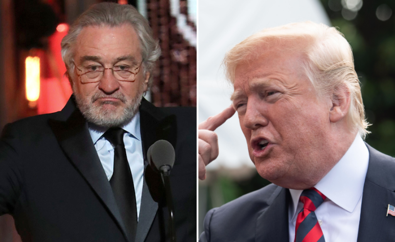 Robert De Niro and President Donald Trump bag of shit poop podcast
