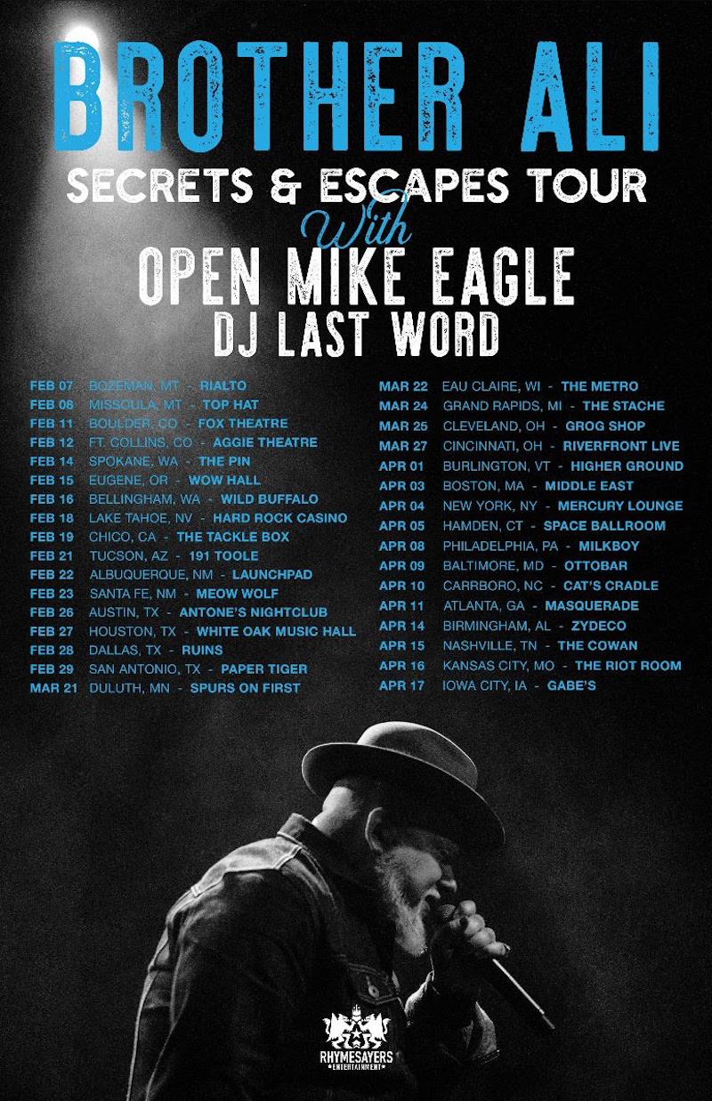 brother ali open mike eagle secrets escapes tour dates tickets Brother Ali and Open Mike Eagle announce Secrets & Escapes Tour