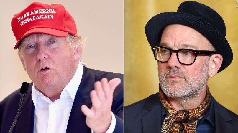 Michael Stipe and Donald Trump, photo via Getty