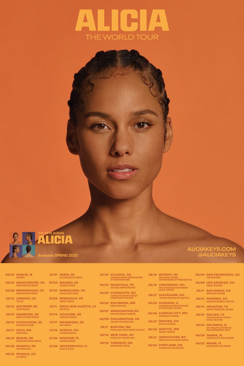 alicia the world tour dates tickets Alicia Keys announces 2020 world tour